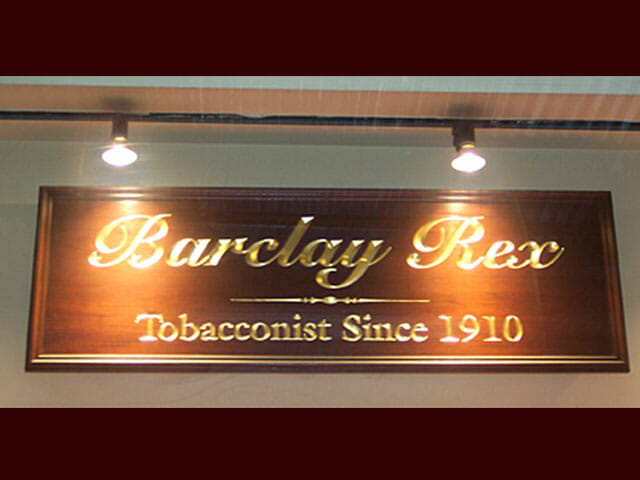 Carved Sign for Barclay Rex Tobacconist