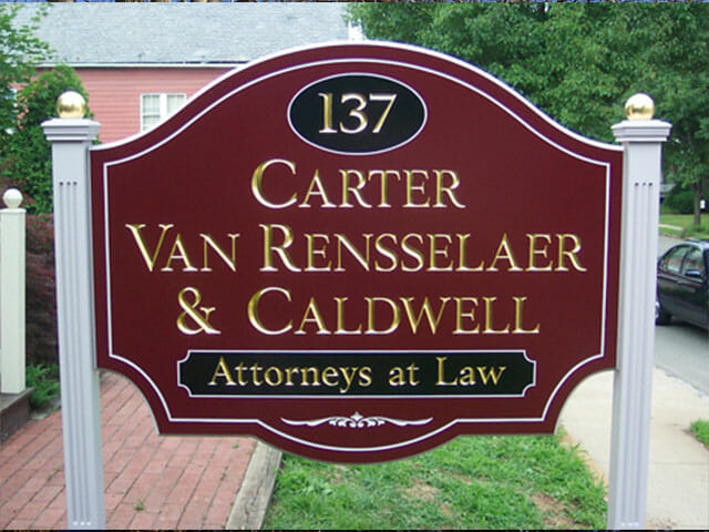 Carved Sign for Carter Van Rensselaer & Caldwell