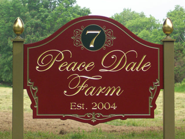 Carved Sign for Peace Dale Farms