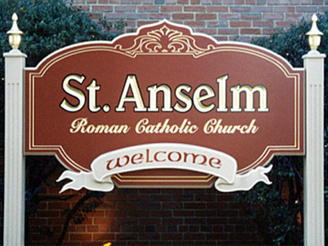 Carved Sign for Saint Anselm Roman Catholic Church