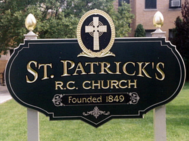Carved Sign for Saint Patricks RC Church
