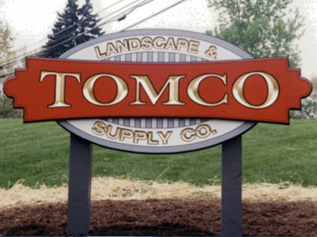 Carved Sign for Tomco Landscape & Supply Company