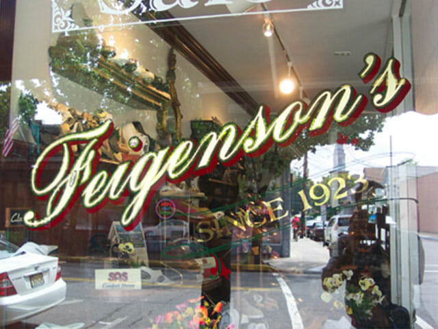 Gold Leaf Sign for Feigenson's Shoes