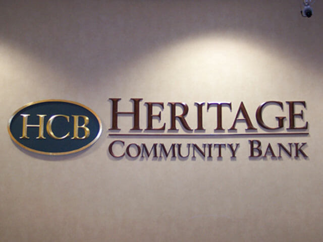 Wall Mounted Letters for Heritage Community Bank