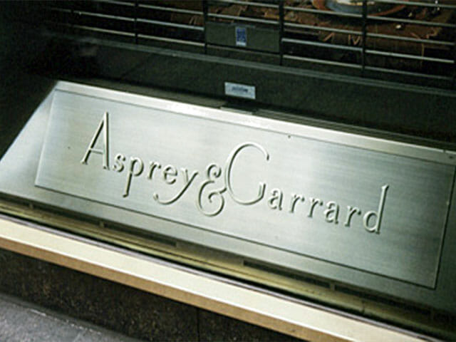 Plaque for Asprey and Garrard