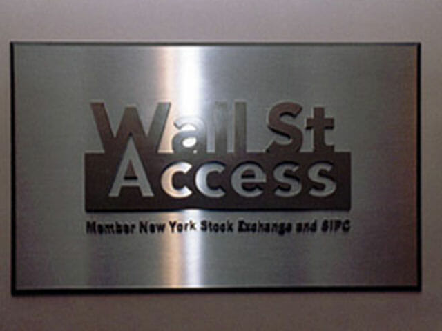 Plaque for Wall Street Access